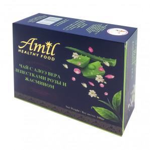 Черный чай с алоэ вера, лепестками розы и жасмином (black tea) Amil | Амил 100г
