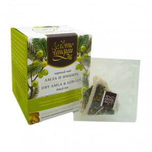 Черный чай в шелковых пакетиках Имбирь и Амла 3г (1 пакетик)
